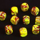 15mm Toxic Spot Dice - Yellow / Red